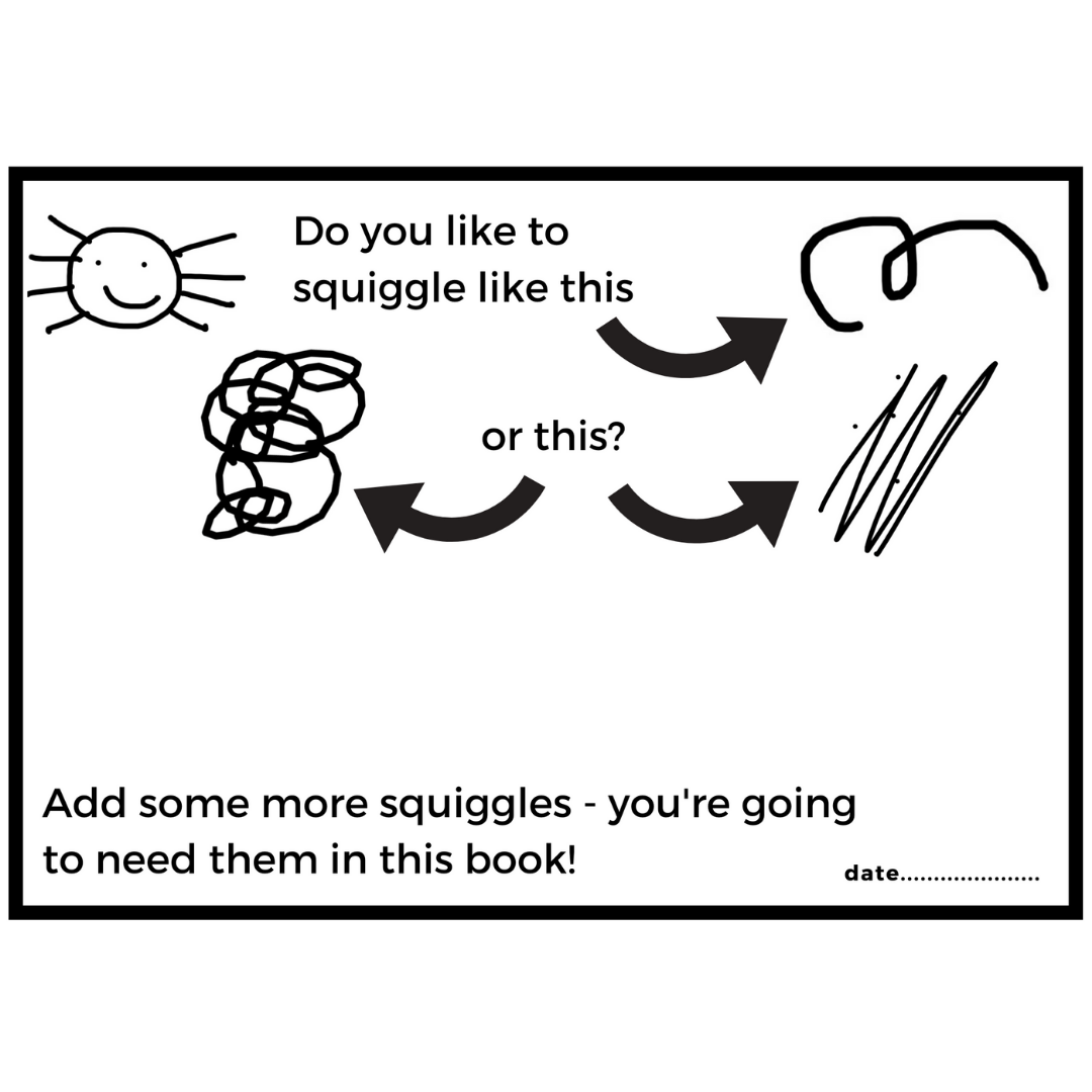 A page from Squiggle Fun at the Fair Drawing Activity Book for kids